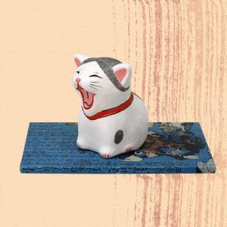 Ukiyo-e Cat hachi / akubi「浮世絵猫 はち/あくび」
