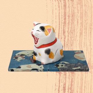 Ukiyo-e Cat mike / akubi「浮世絵猫 みけ/あくび」