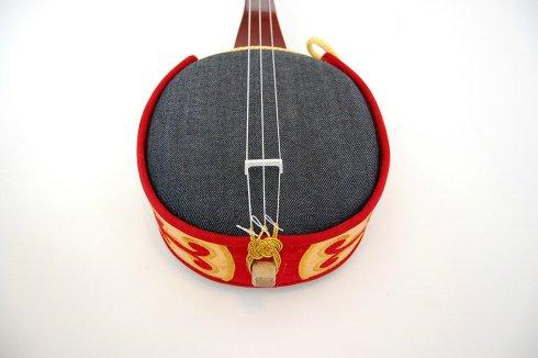 オリジナルデニム朱色棹三線(約75cm)