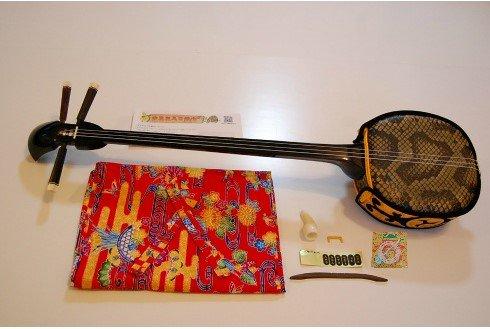 送料無料 三線(約80cm)セット【紅型袋+消音ウマ+女弦付き】