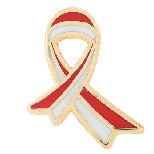 口腔がん撲滅運動 ピンバッジ 〜Red&White Ribbon〜 口腔がん 検診 ※こちらの商品はネコポスでのお届けとなります。<br />