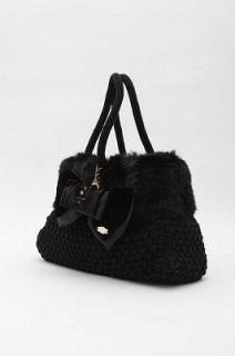 ニットファーバッグ ブラック ブラックベルベットフラワーリボンチャーム付き セット特別価格¥22000