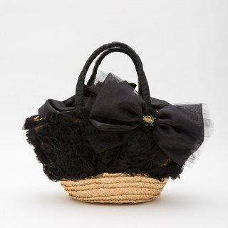黒フラワーチュール仕様ラフィアカゴバッグ 巾着袋付き 13500円(税抜)