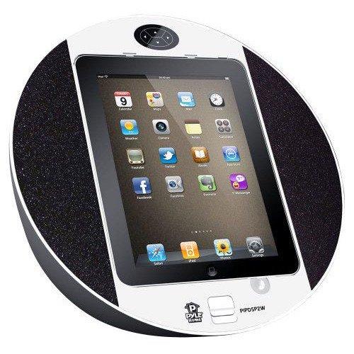 Pyle iPhone/iPod用タッチ・スクリーン・ドック-FMラジオ、アラーム時計付き(白色)