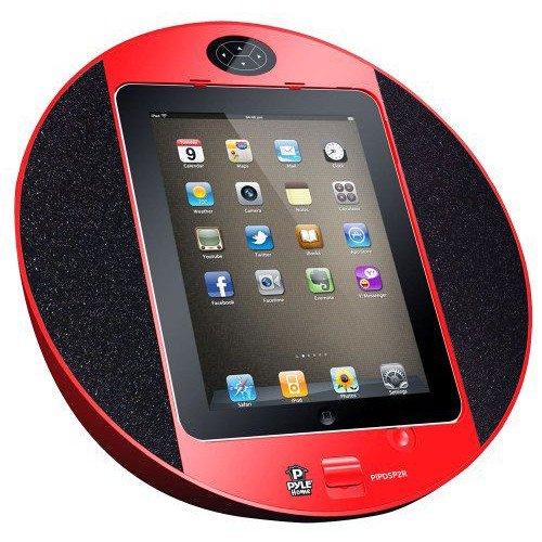 Pyle iPhone/iPod用タッチ・スクリーン・ドック-FMラジオ、アラーム時計付き(赤色)
