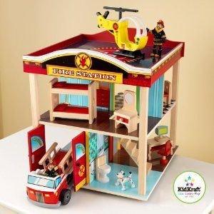 KidKraft Fire Station Kids Play Set - 63236 ミニカー ミニチュア 模型 プレイセット自動車 ダイキャス