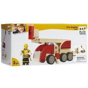 PlanToys (プラントイ) Fire Engine with Fireman all wooden version ミニカー ミニチュア 模型 プレイ