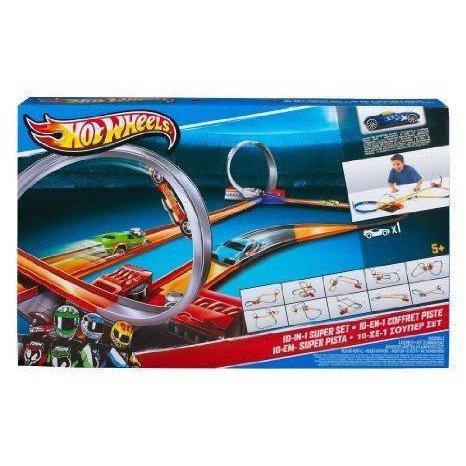 Hot Wheels (ホットウィール) 10-in-1 Track Set ミニカー ミニチュア 模型 プレイセット自動車 ダイキャ