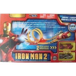 Iron Man 2 Dual Loop Challenge Track プレイセット with 2 ダイキャスト Vehicles ミニカー ミニチュア