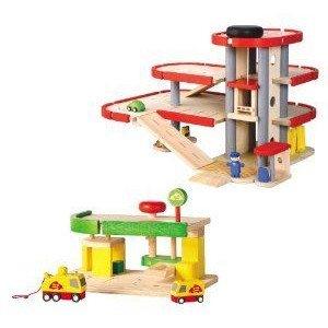 Plan Toys (プラントイ) Garage + Car Repair Service Station ミニカー ミニチュア 模型 プレイセット自