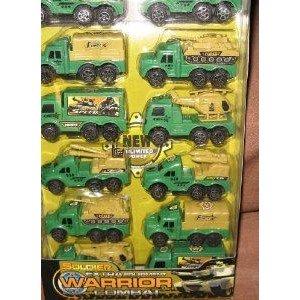 12 Pack Miltiary Pull Back トラック Set ミニカー ミニチュア 模型 プレイセット自動車 ダイキャスト