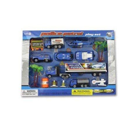 Police patrol play set - Pack of 16 ミニカー ミニチュア 模型 プレイセット自動車 ダイキャスト