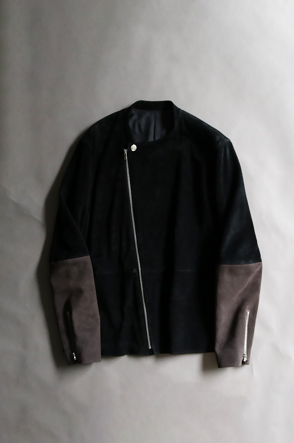 Leather switching blouson