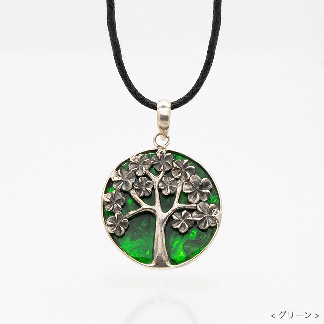 願望成就 生命の樹シェルペンダント グリーン