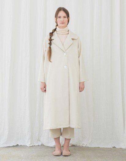 カシミール手織りウール テーラードラグランコート White