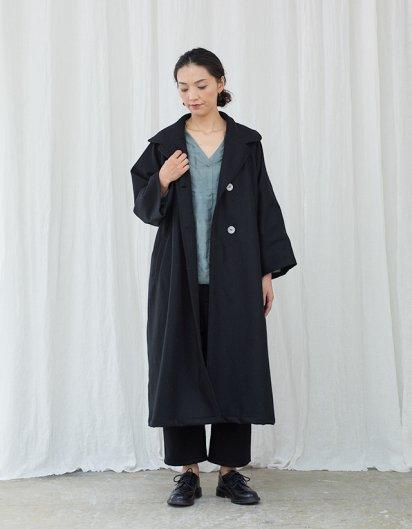 カシミール手織りウール テーラードラグランコート Black