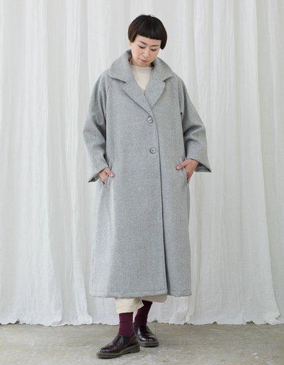 カシミール手織りウール テーラードラグランコート グレイヘリンボーン
