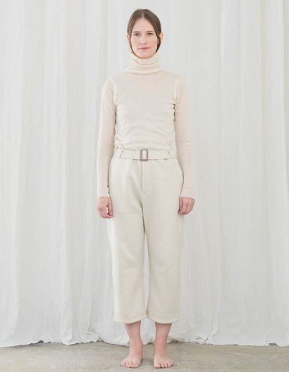 カシミール手織りウールベルトパンツ white