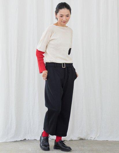 カシミール手織りウールベルトパンツ black