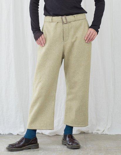 カシミール手織りウールベルトパンツ yellow