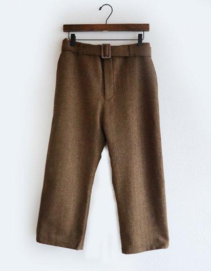 カシミール手織りウールベルトパンツ Dark Brown