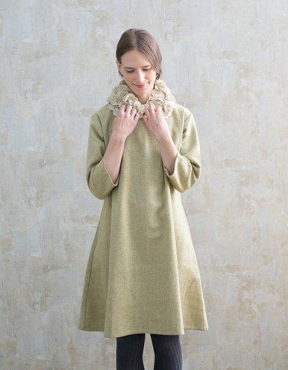 カシミール手織りウールAラインワンピース yellow