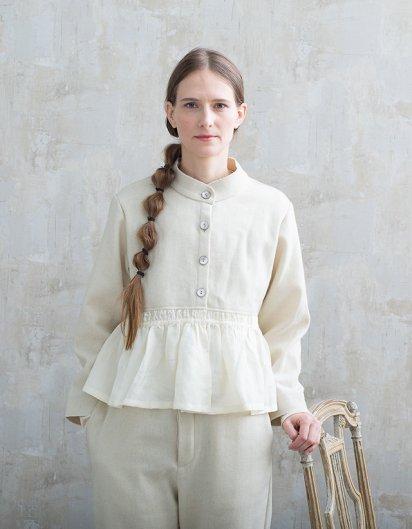 カシミール手織りウールギャザージャケット White