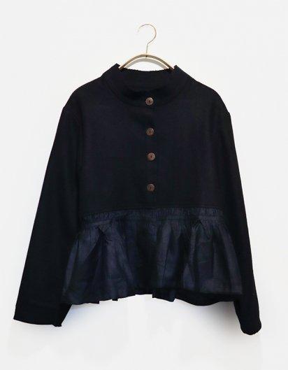 カシミール手織りウールギャザージャケット Black