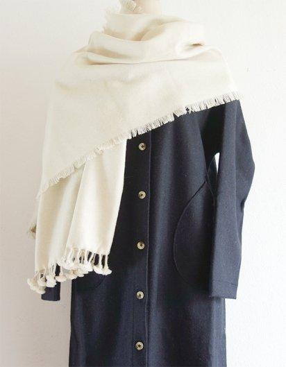 カシミール手織りウールフリンジストール White
