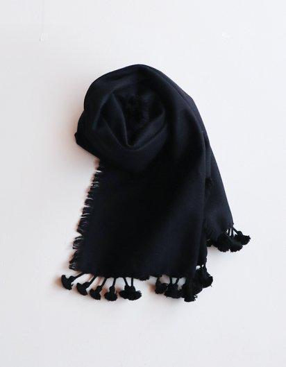 カシミール手織りウールフリンジストール Black