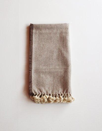 カシミール手織りウールフリンジストール Brown