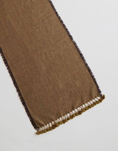 カシミール手織りウールフリンジストール Dark Brown