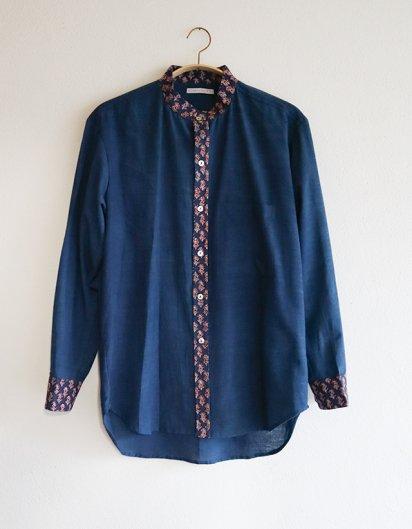 オーガニックコットン カディ メンズシャツ indigo