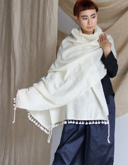 メリノウール クジャラート 手織りストール White