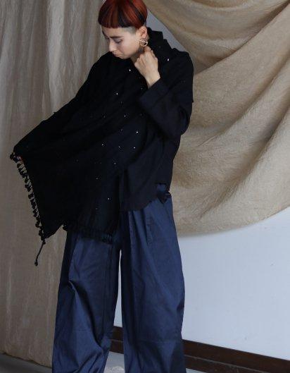 メリノウール クジャラート 手織りストール Black