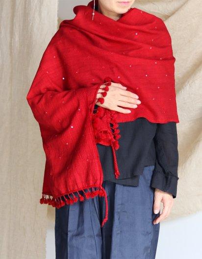 メリノウール クジャラート 手織りストール Red