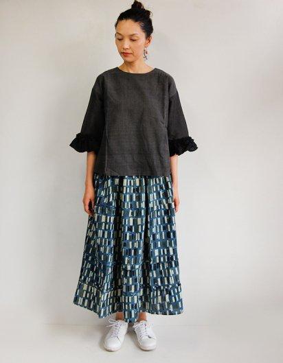 ブロックプリント  ティアードロングスカート gray