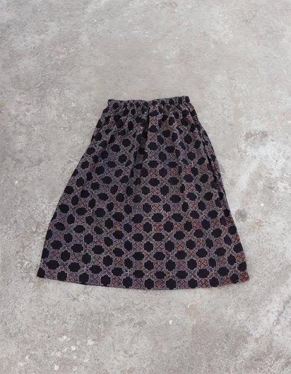 ブッダガヤ ブロックプリント スカート AJRAK モスクの窓 Black