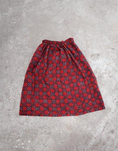 ブッダガヤ ブロックプリント スカート AJRAK モスクの窓 Red