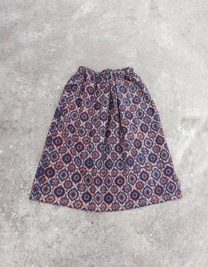 ブッダガヤ ブロックプリント スカート AJRAK 花 Pink