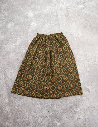 ブッダガヤ ブロックプリント スカート AJRAK 花 Green