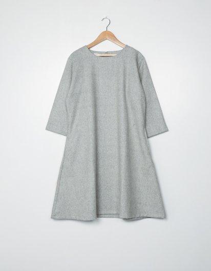 カシミール手織りウールAラインワンピース  Gray