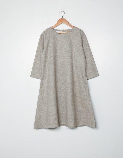 カシミール手織りウールAラインワンピース  Brown