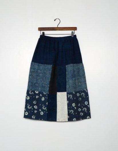 ブッダガヤ刺し子スカート indigo