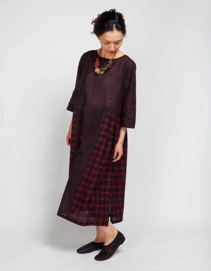 Aラインドレス ブロックプリント チェックレッド