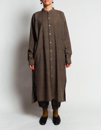 カディコットン ユニセックスロングシャツ Dark brown