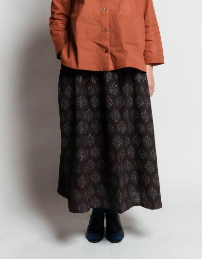 サイドポケットスカート 鉄染オーガニックコットン 生命の木
