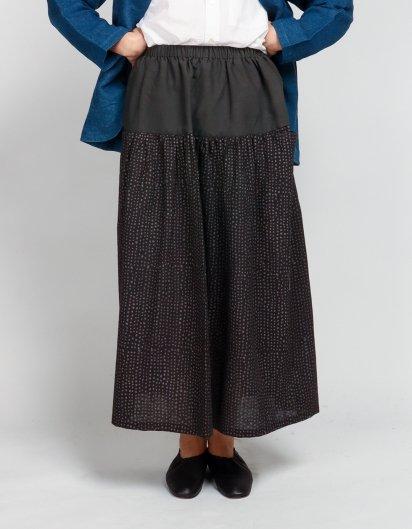 サイドポケットスカート 鉄染オーガニックコットン 粒粒