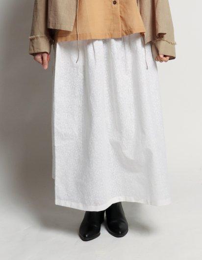 サイドポケットスカート リネン白プリント チャトリ(傘)