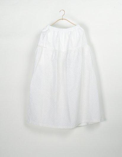 サイドポケットスカート リネン白プリント ジグザグ